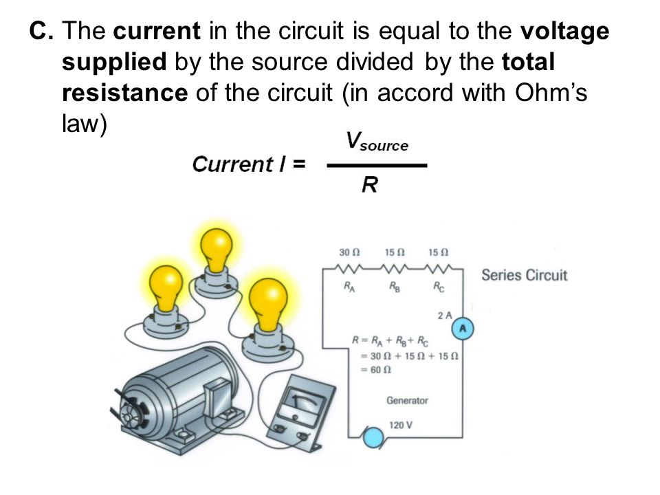 C. The current in the circuit is equal to the voltage supplied by the source divided by the total resistance of the circuit (in accord with Ohm's law)
