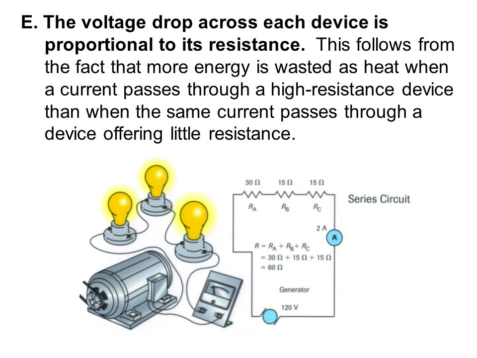 E. The voltage drop across each device is proportional to its resistance. This follows from the fact that more energy is wasted as heat when a current passes through a high-resistance device than when the same current passes through a device offering little resistance.