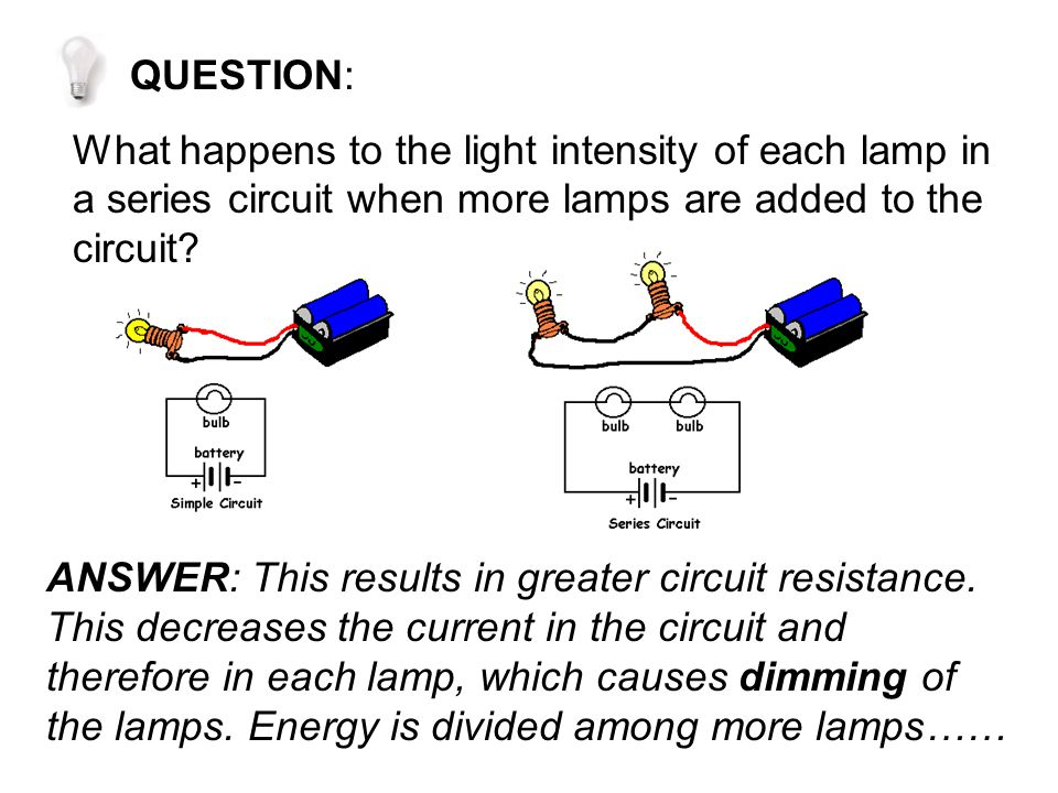 QUESTION: What happens to the light intensity of each lamp in a series circuit when more lamps are added to the circuit