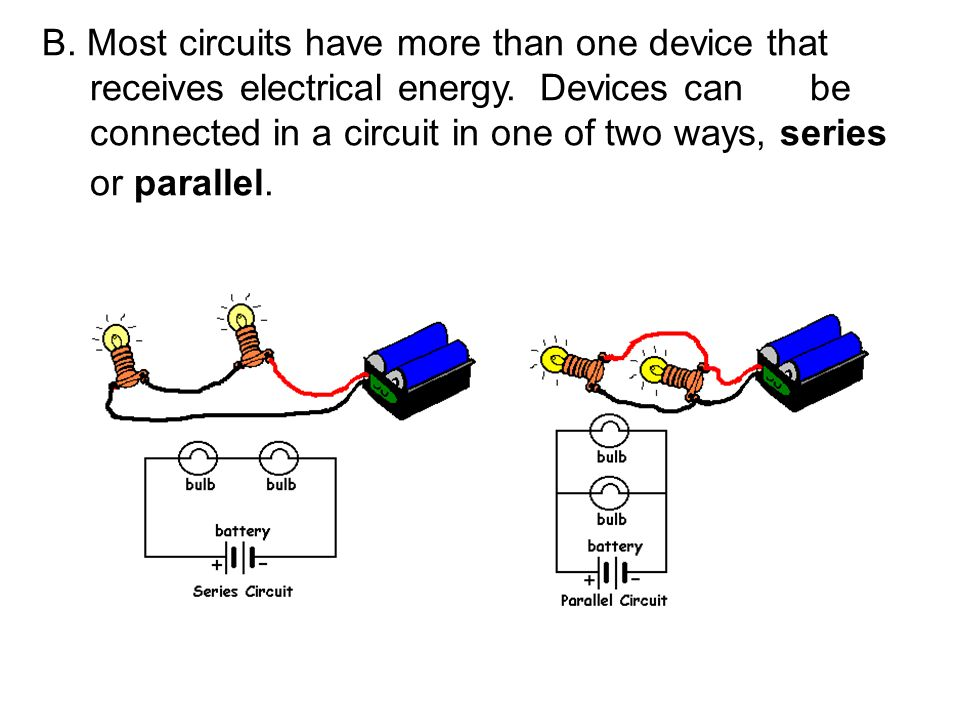 B. Most circuits have more than one device that receives electrical energy.