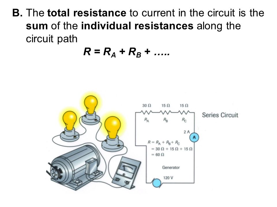 B. The total resistance to current in the circuit is the sum of the individual resistances along the circuit path