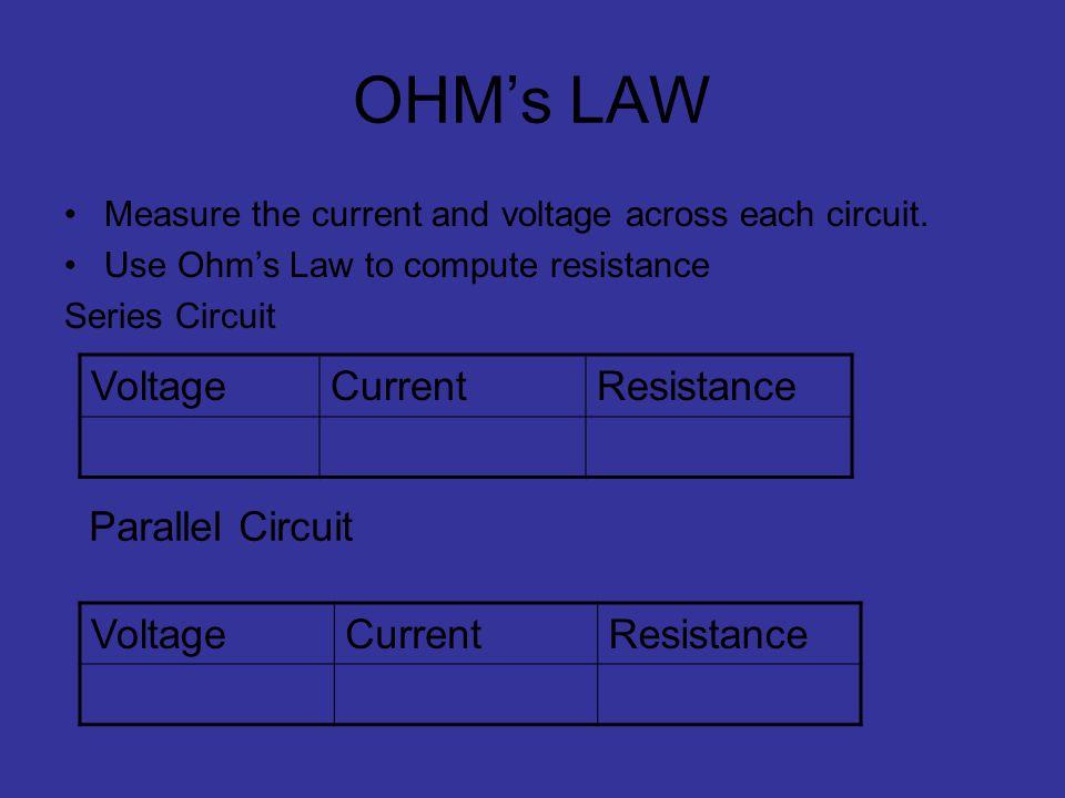 OHM's LAW Voltage Current Resistance Parallel Circuit Voltage Current