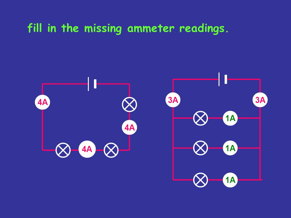 fill in the missing ammeter readings.