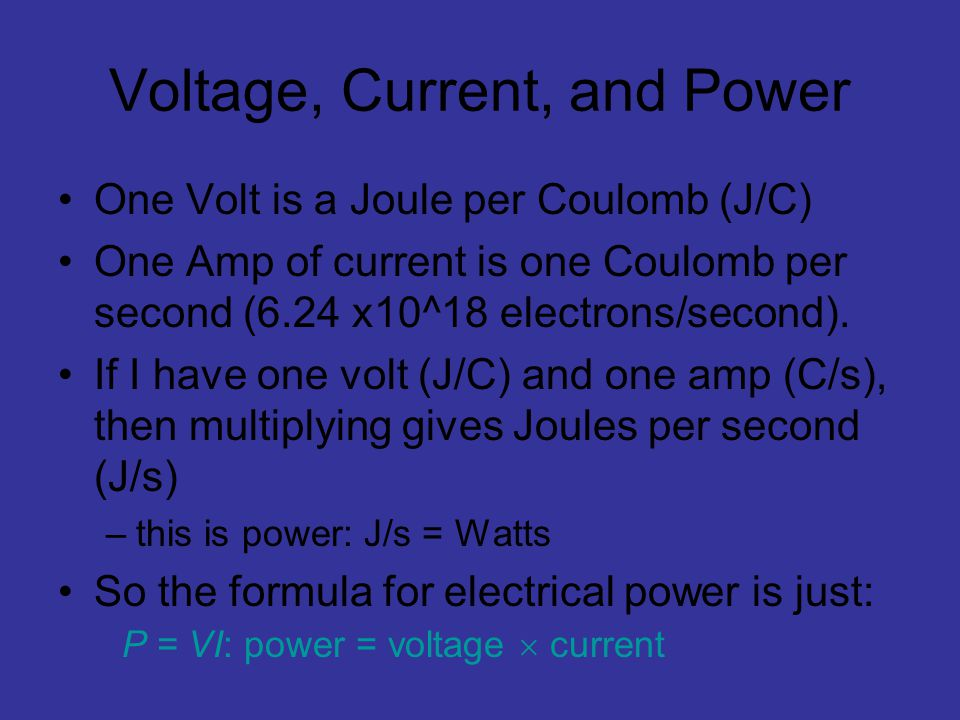 Voltage, Current, and Power