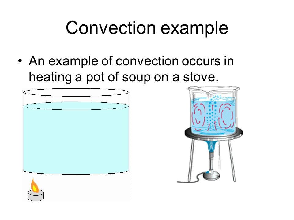 Convection example An example of convection occurs in heating a pot of soup on a stove.