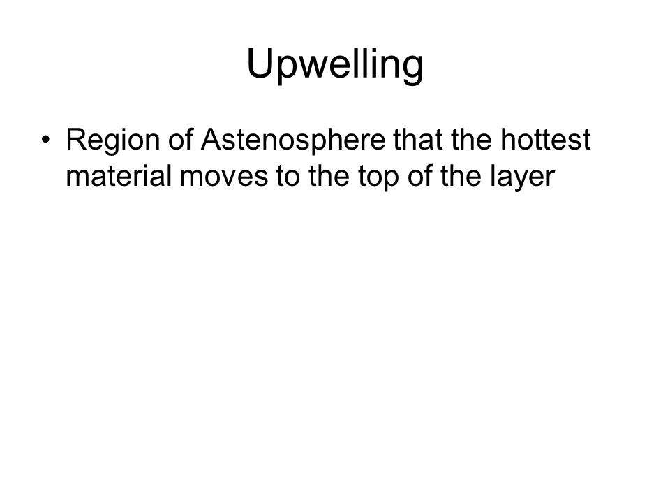 Upwelling Region of Astenosphere that the hottest material moves to the top of the layer