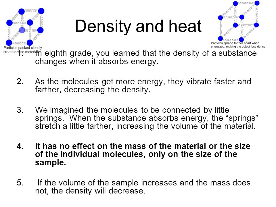 Density and heat In eighth grade, you learned that the density of a substance changes when it absorbs energy.