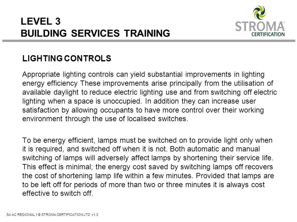 LEVEL 3 BUILDING SERVICES TRAINING