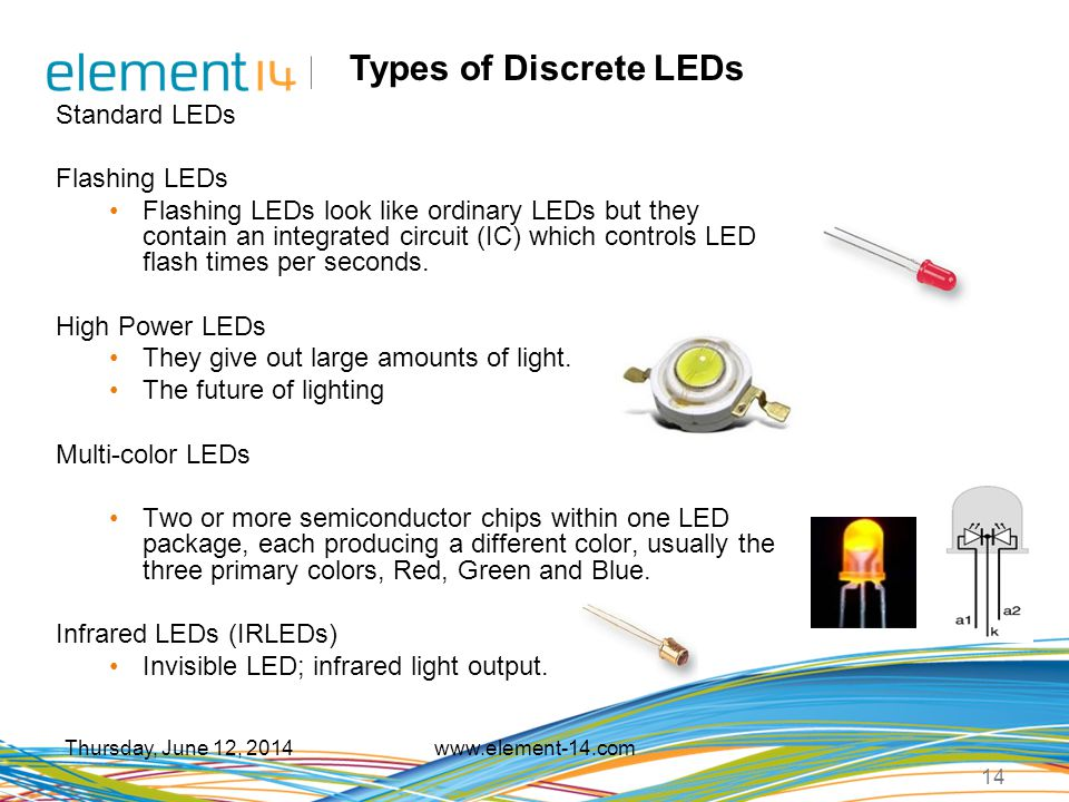 Types of Discrete LEDs Standard LEDs Flashing LEDs