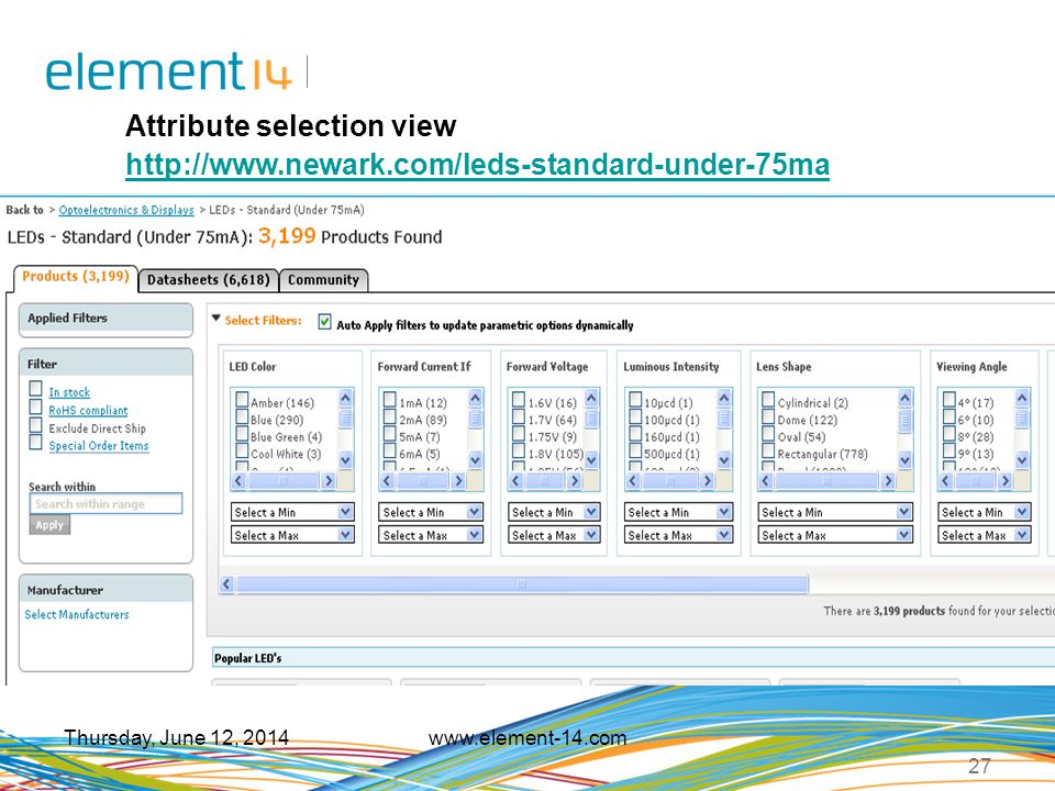 Attribute selection view