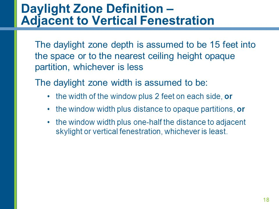Daylight Zone Definition – Adjacent to Vertical Fenestration