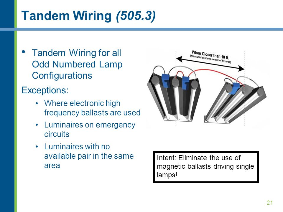 Tandem Wiring (505.3) Tandem Wiring for all Odd Numbered Lamp Configurations. Exceptions: Where electronic high frequency ballasts are used.