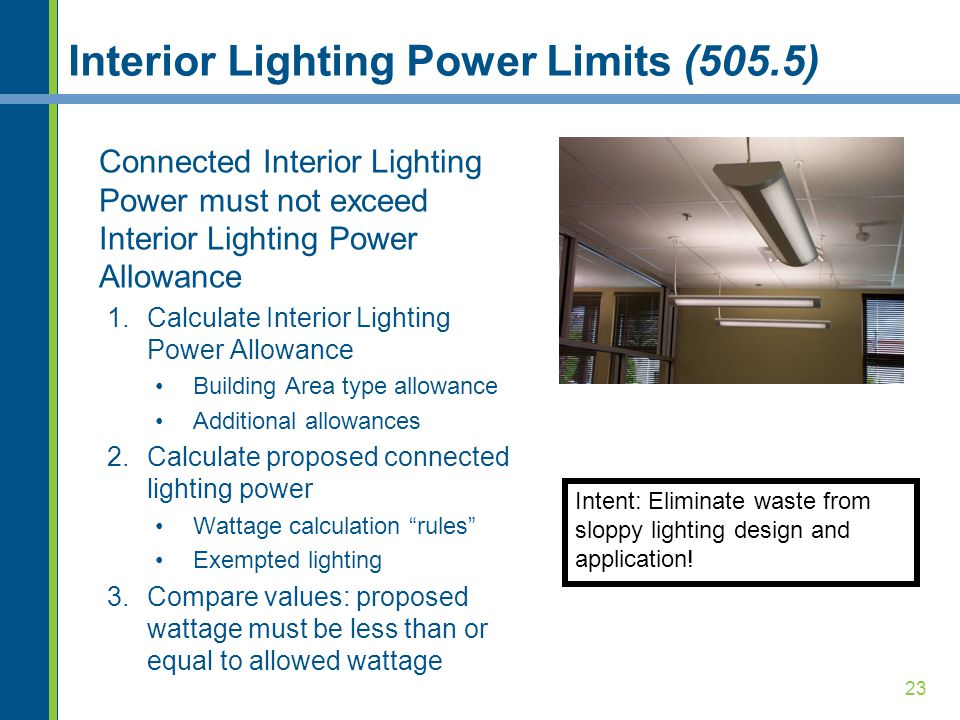 Interior Lighting Power Limits (505.5)