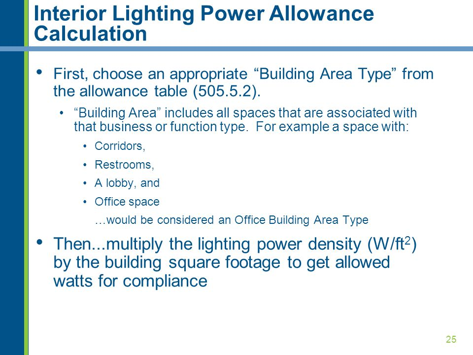 Interior Lighting Power Allowance Calculation