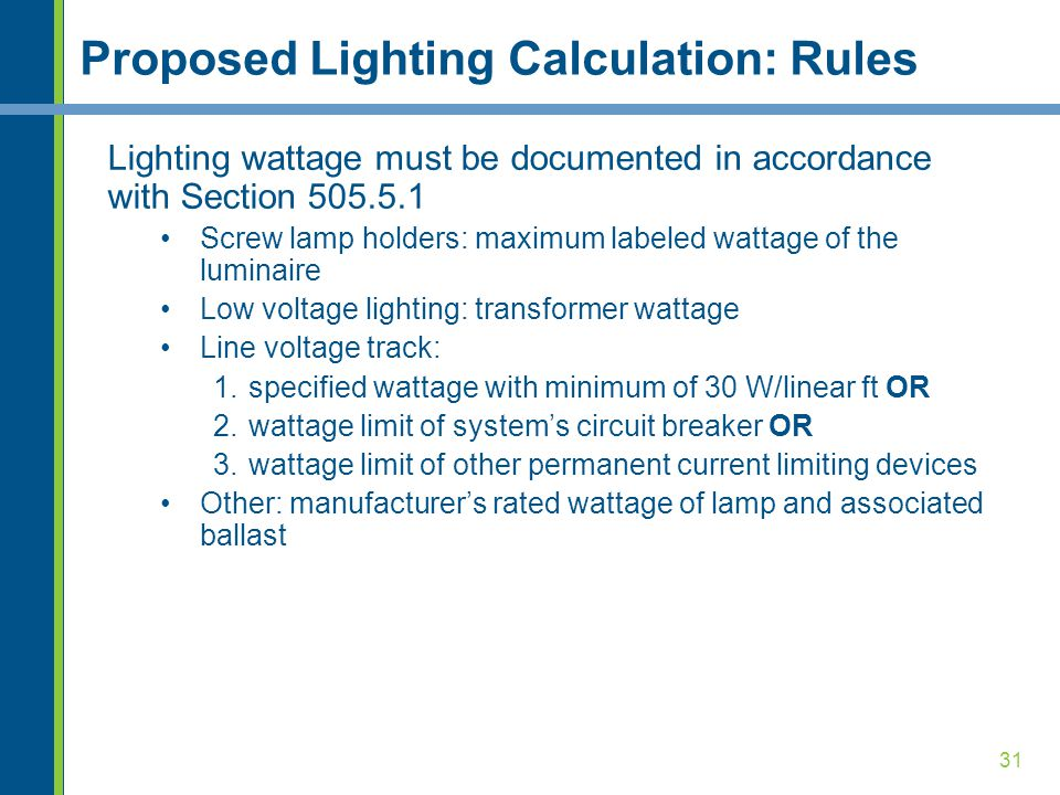 Proposed Lighting Calculation: Rules
