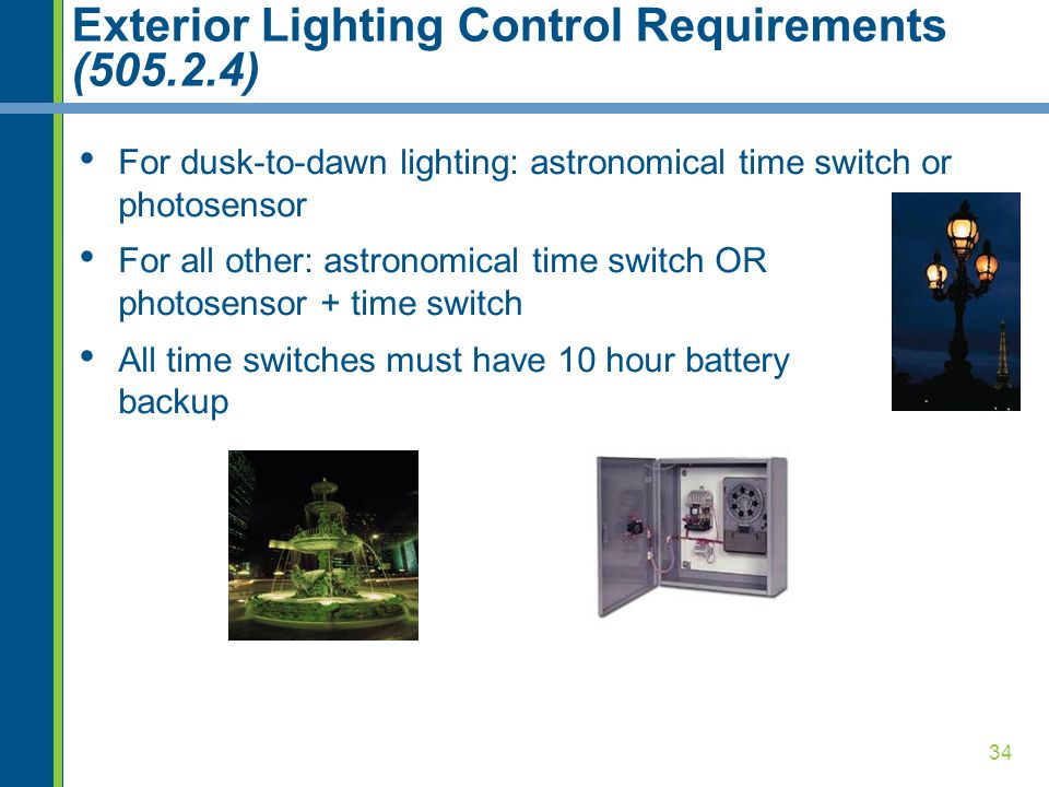 Exterior Lighting Control Requirements (505.2.4)