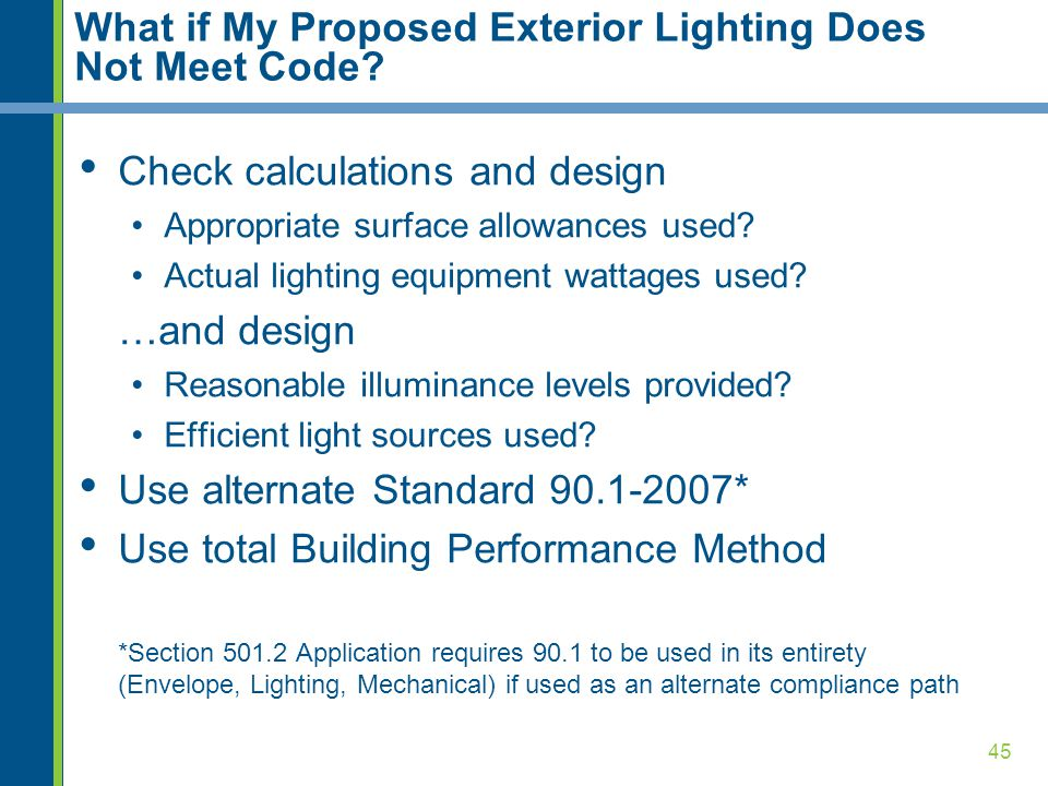 What if My Proposed Exterior Lighting Does Not Meet Code