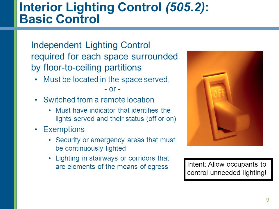 Interior Lighting Control (505.2): Basic Control