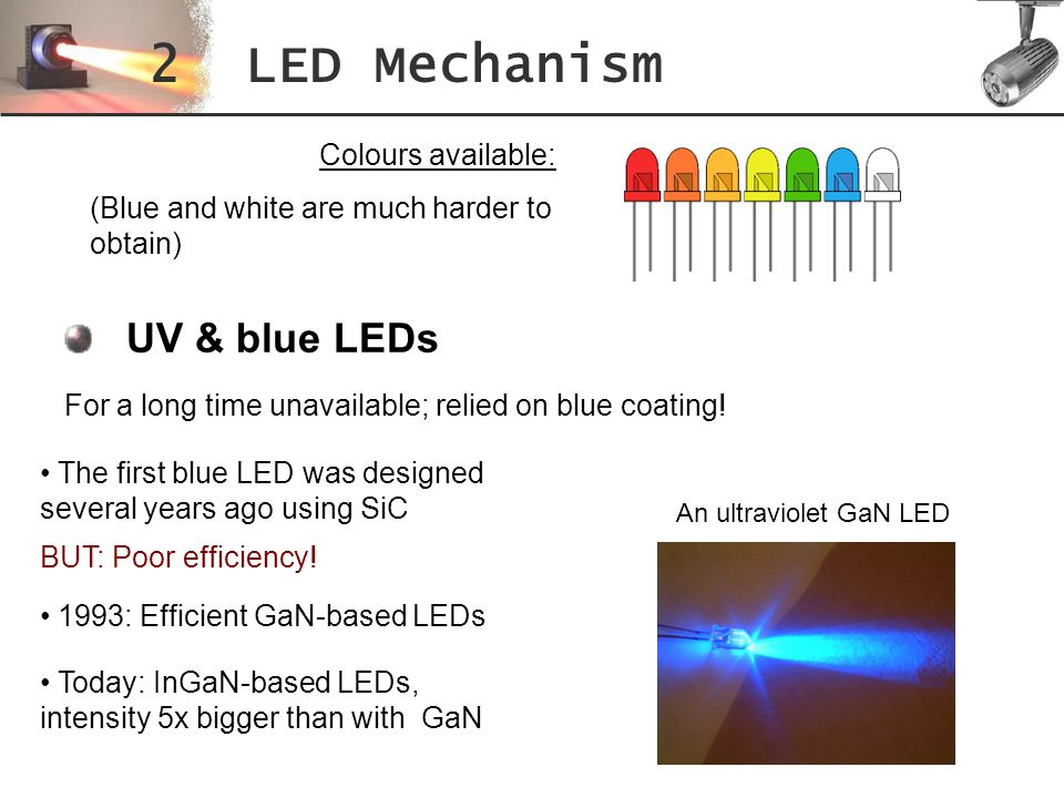 2 LED Mechanism UV & blue LEDs