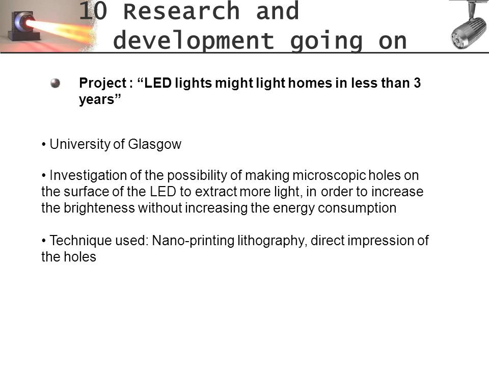 10 Research and development going on
