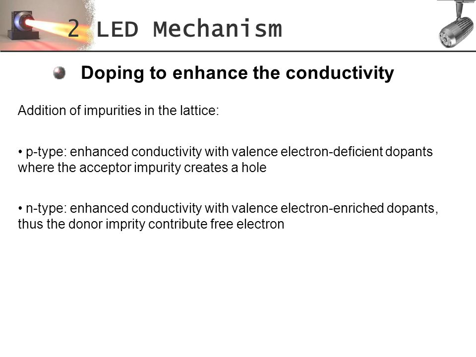 2 LED Mechanism Doping to enhance the conductivity