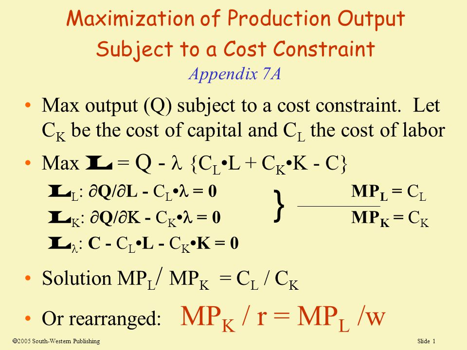 Maximization of Production Output Subject to a Cost Constraint Appendix 7A