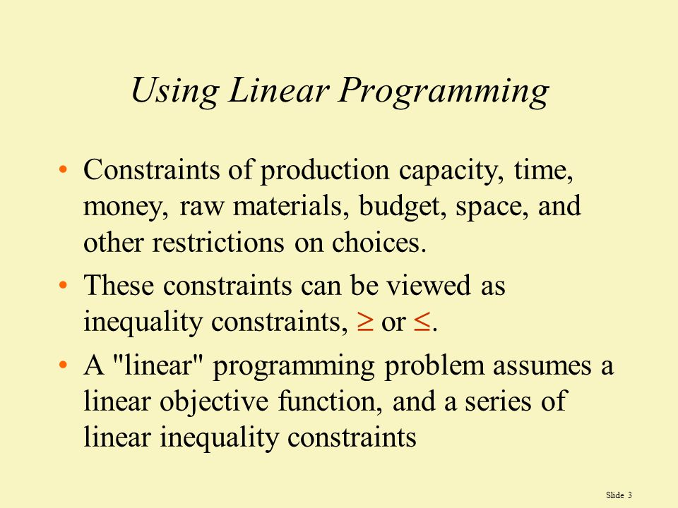 Using Linear Programming