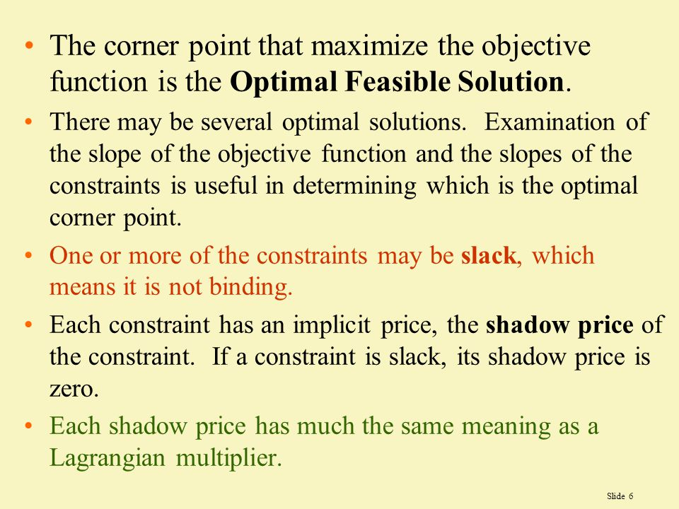 The corner point that maximize the objective function is the Optimal Feasible Solution.