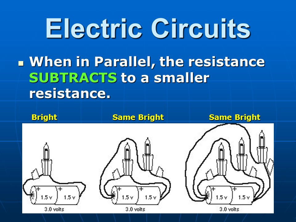 Electric Circuits When in Parallel, the resistance SUBTRACTS to a smaller resistance.