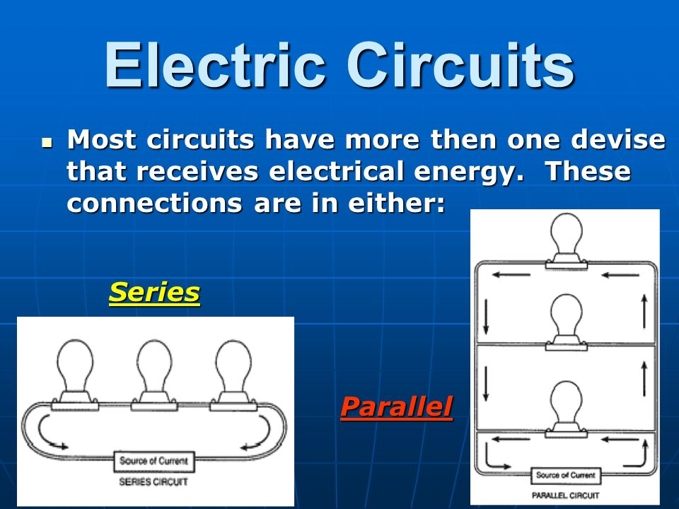 Electric Circuits Most circuits have more then one devise that receives electrical energy. These connections are in either: