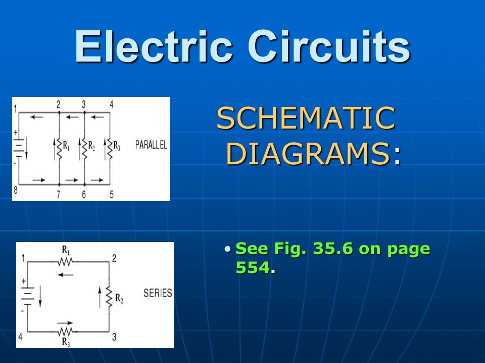 Electric Circuits SCHEMATIC DIAGRAMS: See Fig. 35.6 on page 554.