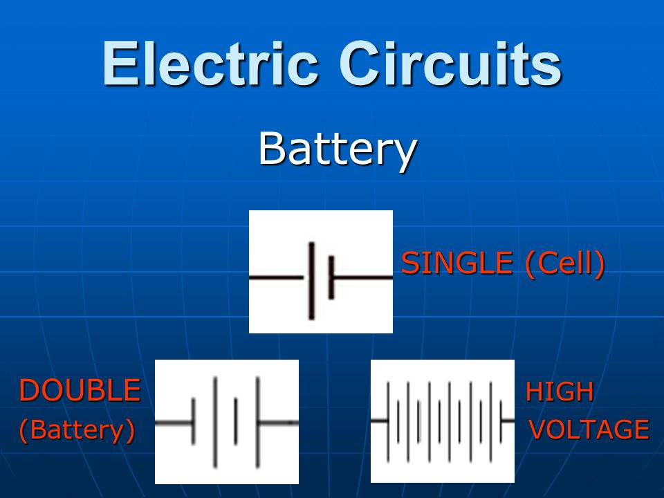 Electric Circuits Battery. SINGLE (Cell) DOUBLE HIGH.