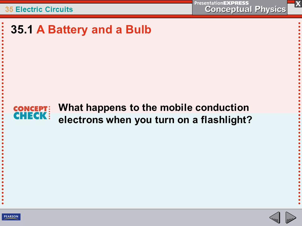 35.1 A Battery and a Bulb What happens to the mobile conduction electrons when you turn on a flashlight
