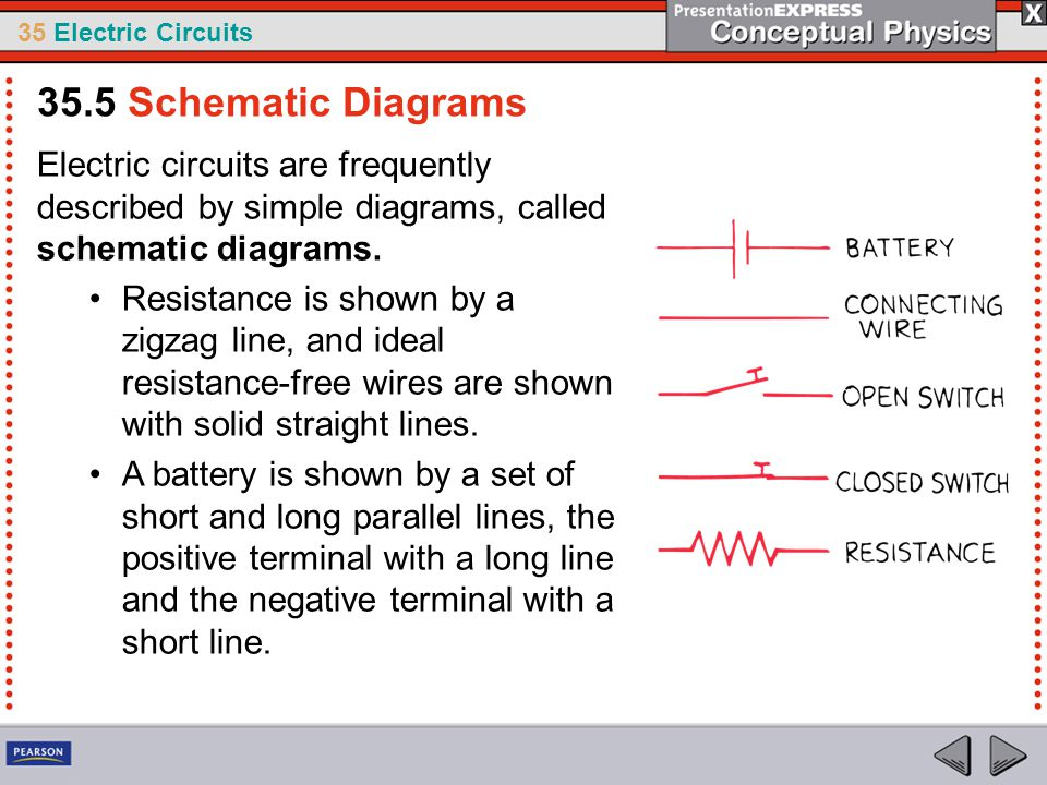 35.5 Schematic Diagrams Electric circuits are frequently described by simple diagrams, called schematic diagrams.