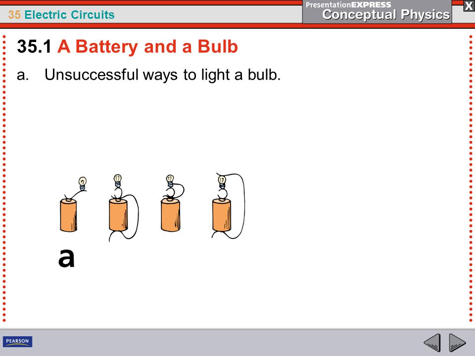 35.1 A Battery and a Bulb Unsuccessful ways to light a bulb.