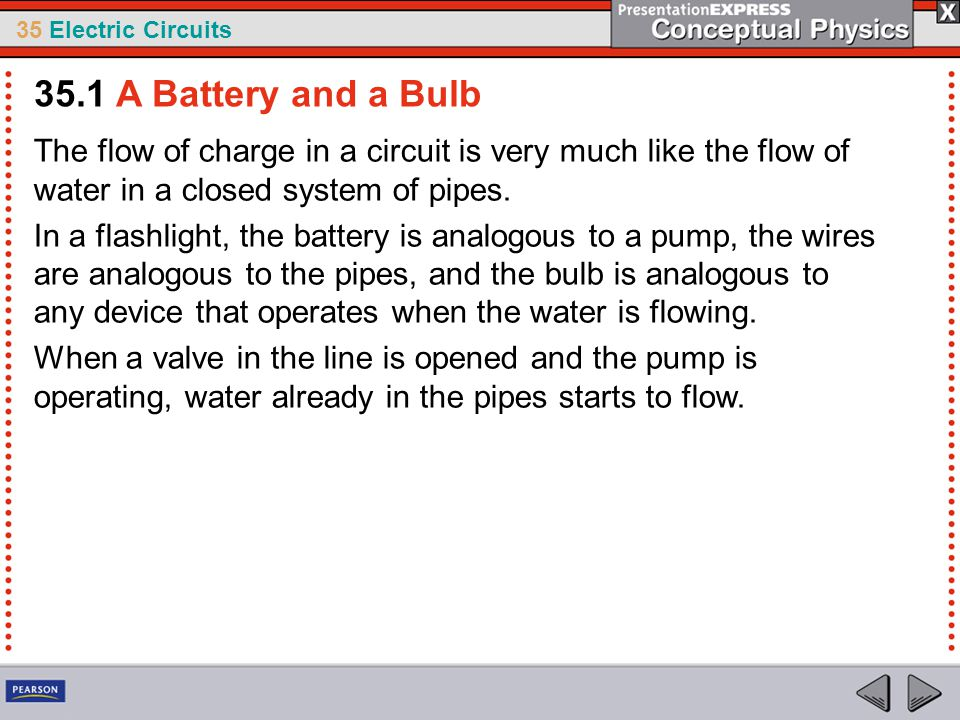 35.1 A Battery and a Bulb The flow of charge in a circuit is very much like the flow of water in a closed system of pipes.