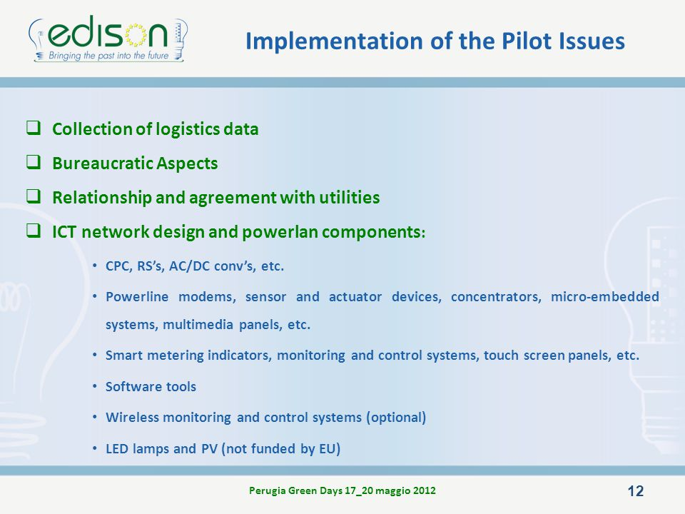 Implementation of the Pilot Issues