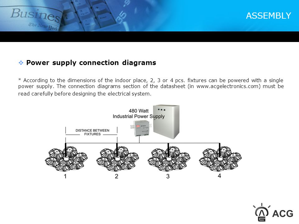 ASSEMBLY Power supply connection diagrams