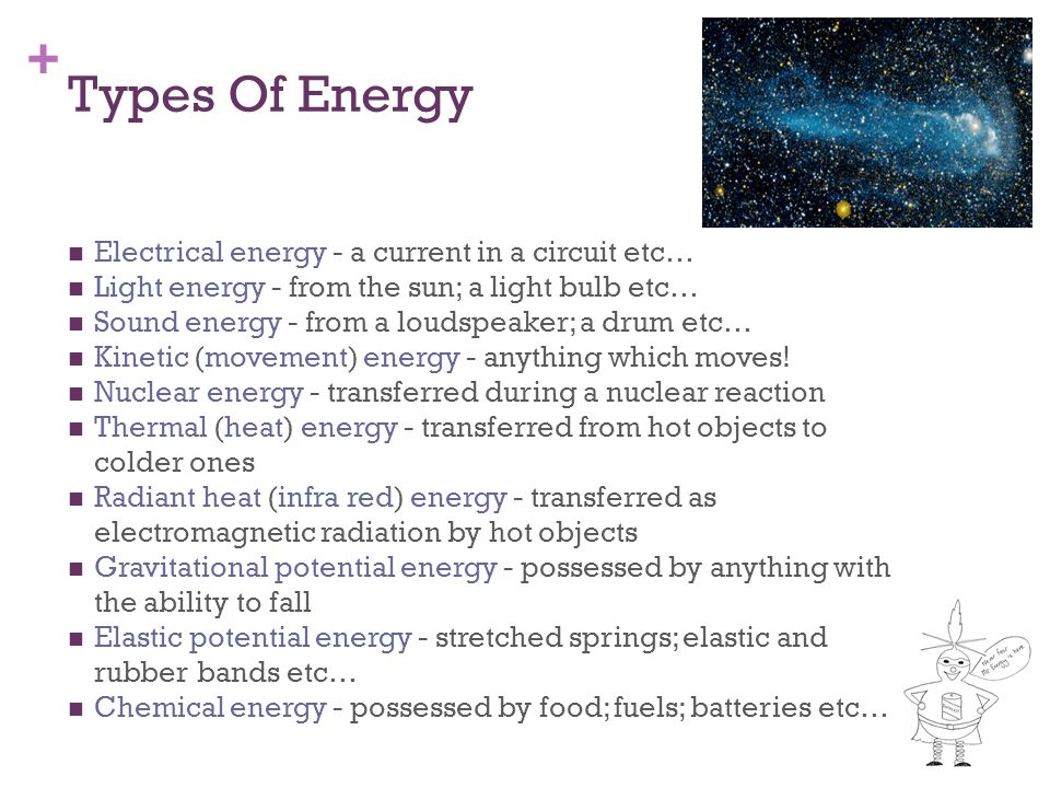 Types Of Energy Electrical energy - a current in a circuit etc…