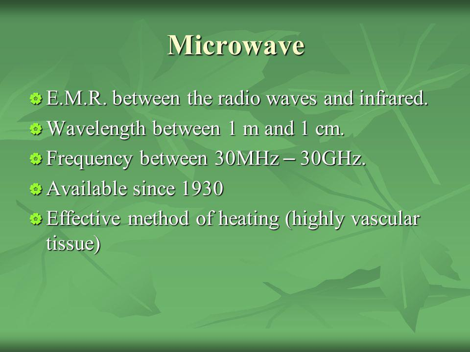 Microwave E.M.R. between the radio waves and infrared.