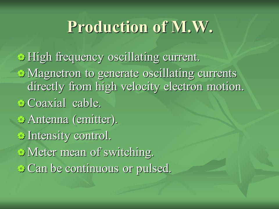 Production of M.W. High frequency oscillating current.