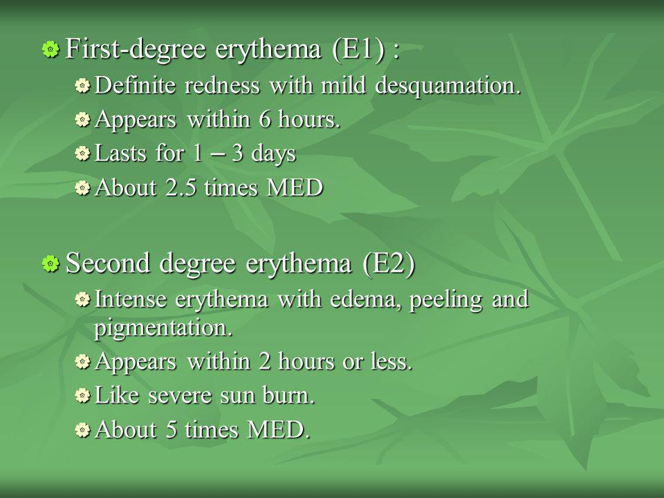 First-degree erythema (E1) :