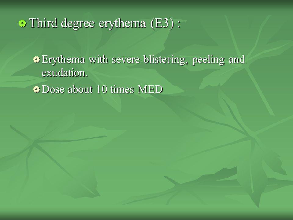 Third degree erythema (E3) :
