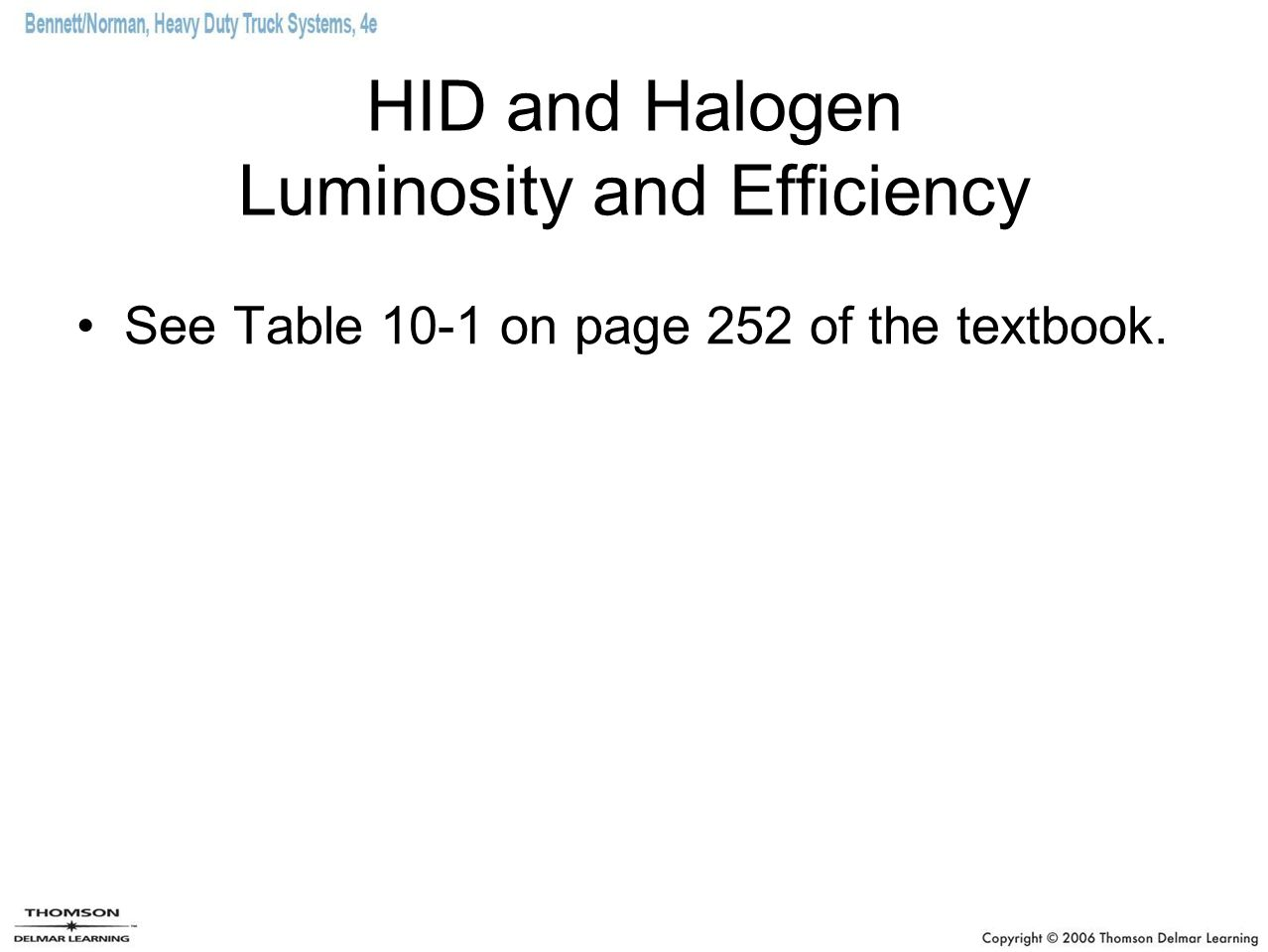 HID and Halogen Luminosity and Efficiency