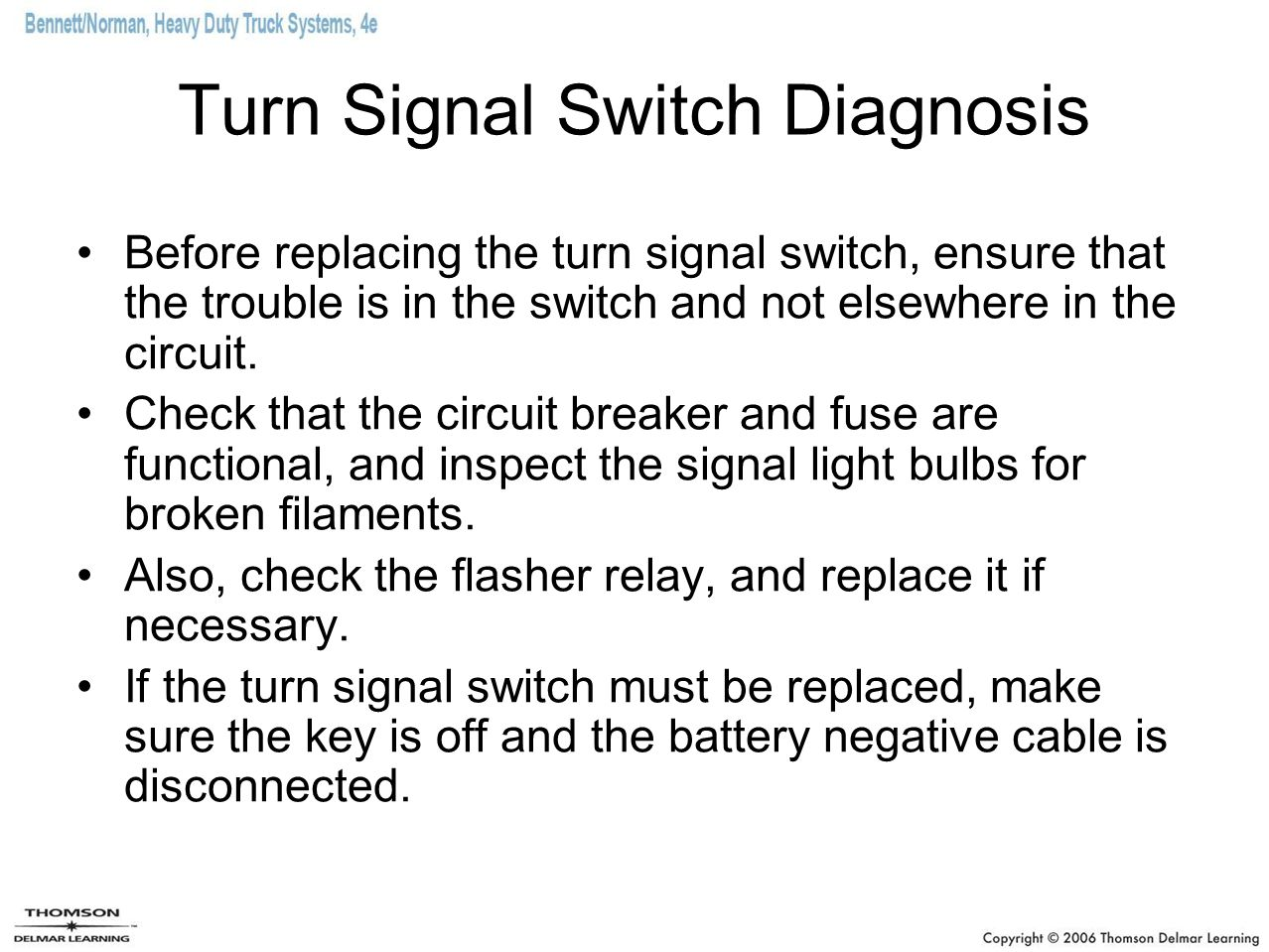 Turn Signal Switch Diagnosis