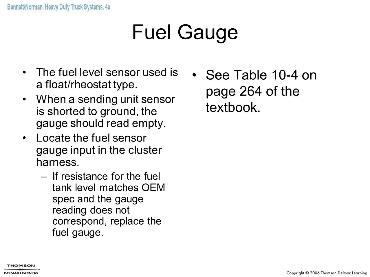 Fuel Gauge See Table 10-4 on page 264 of the textbook.