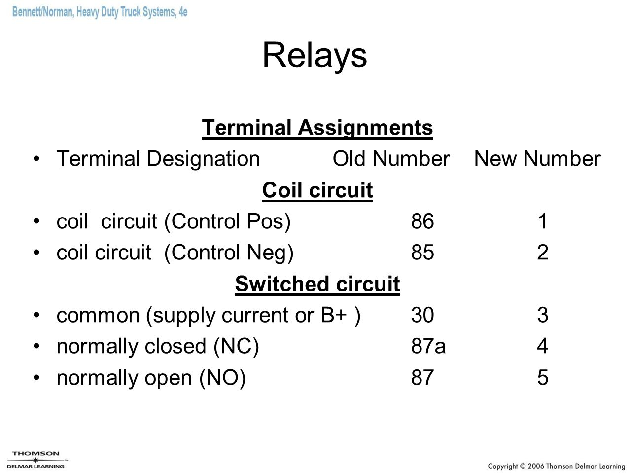 Relays Terminal Assignments Terminal Designation Old Number New Number