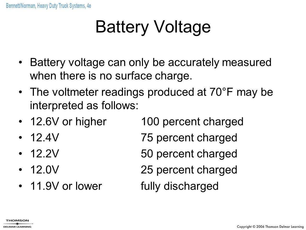 Battery Voltage Battery voltage can only be accurately measured when there is no surface charge.