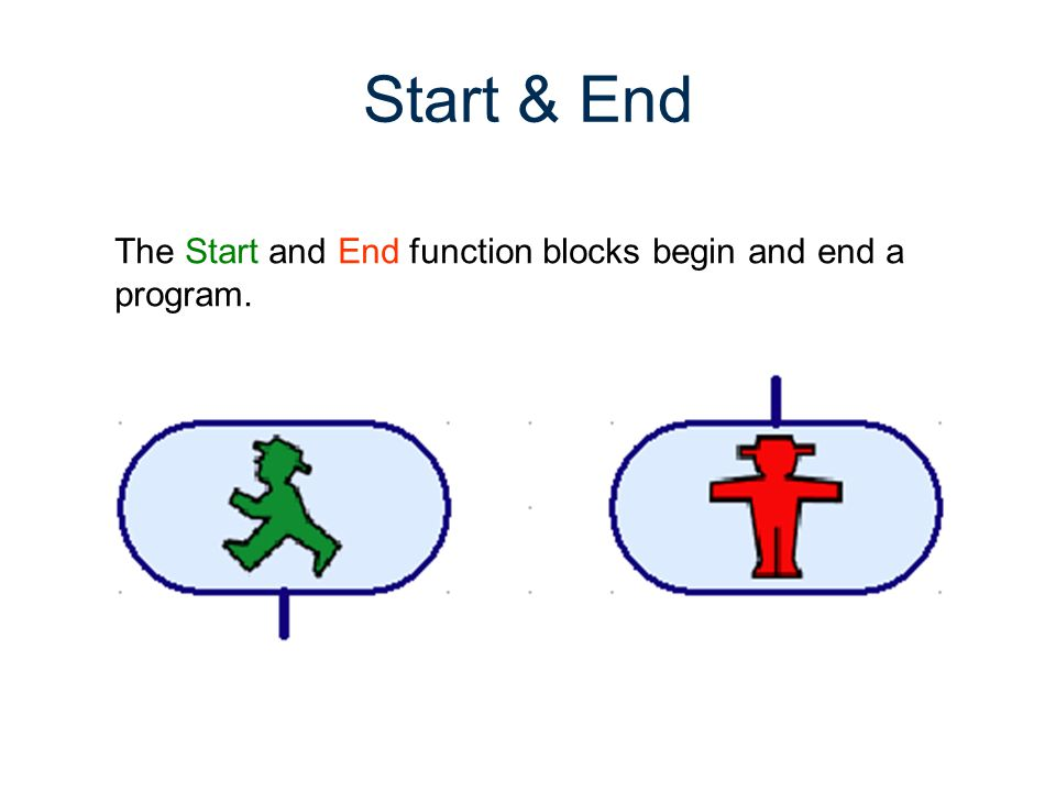 Start & End The Start and End function blocks begin and end a program.