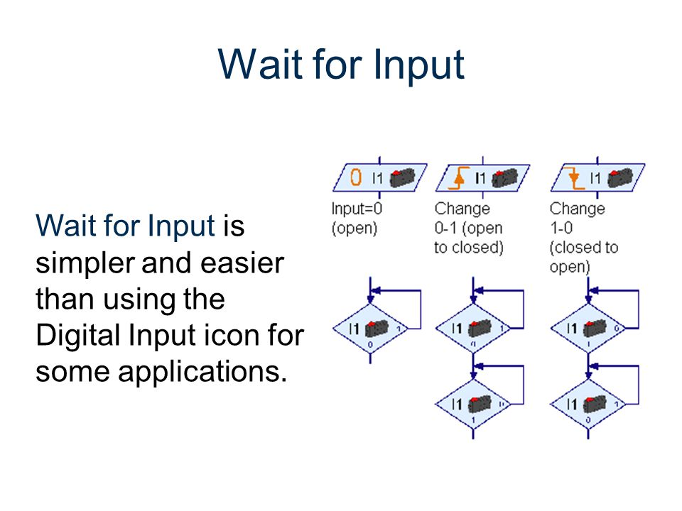 Wait for Input Wait for Input is simpler and easier than using the
